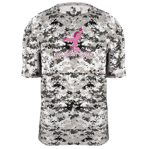 Badger Camo Kick Breast Cancer Youth Tee - White/Digital 2180WHY