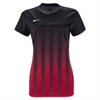 Nike Women's SS Striped Division II Jersey - Black/Red 820702Red