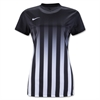 Nike Wome'ns SS Striped Division II Jersey - Black/White 820702Blk