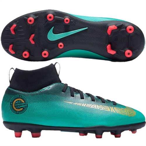 Nike Junior Mercurial Superfly VI Club CR7 MG - Clear Jade/Metallic Vivid Gold AJ3115-390