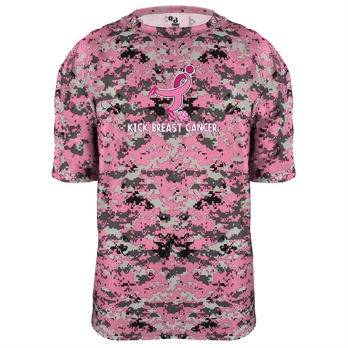 Badger Camo Kick Breast Cancer Youth Tee - Pink/Digital 2180PKY