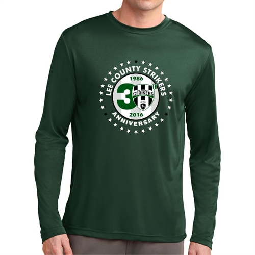 Lee County Strikers 30th Anniversary Long Sleeve Performance Shirt - Forest Green Lee-30PTee