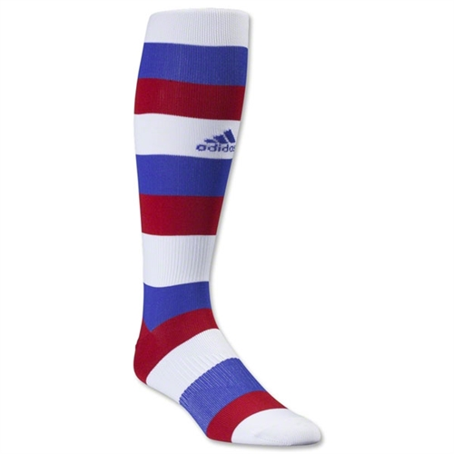 adidas Metro hoop Sock - White/Cobalt/Power Red Adi-MetroHoop-whblrd