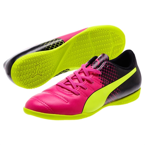 Puma Junior EvoPower 4.3 Tricks IT - Pink Glo/Safety Yellow/Black Indoor 10362601