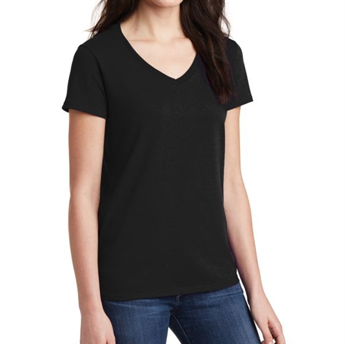 Gildan 5V00L Cotton Women's V-Neck T-Shirt - Black 5V00LBlck