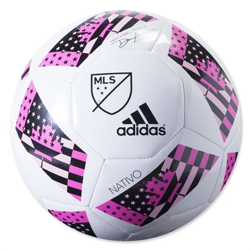 adidas MLS Nativo 2016 Glider Soccer Ball - White/Shock Pink AC5504