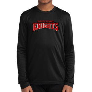 Boynton Knights FC Youth Long Sleeve Performance Logo Shirt - Black YST350LS-BK