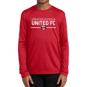 Greater Osceola United Youth Long Sleeve Performance Shirt - Red YST350LSGR