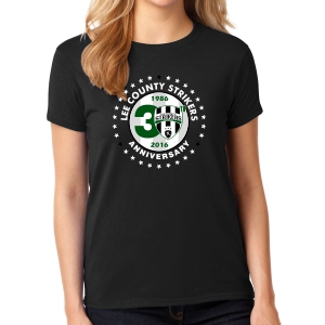 Lee County Strikers 30th Anniversary Women's T-Shirt - Black Lee-30WBTee