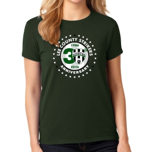 Lee County Strikers 30th Anniversary Women's T-Shirt - Forest Green Lee-30WTee