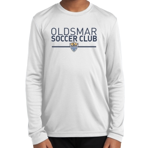 Boynton Oldsmar Soccer Club Youth Long Sleeve Performance Shirt - White YST350LS-OSCW