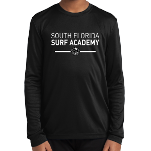 South Florida Surf Academy Youth Long Sleeve Performance Shirt - Black YST350LS-SFS