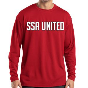 SSA United Long Sleeve Performance Shirt - Red SSALPerTee