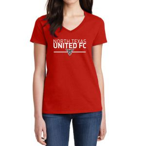 Texas United Women's V-Neck T-Shirt - Red 5V00LTU