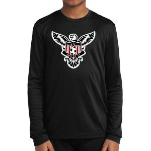 Texas United FC Youth Long Sleeve Performance Logo Shirt - Black YLST350LBlk