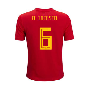 adidas Iniesta Spain Youth Home Jersey 2018 BR2713-Iniesta