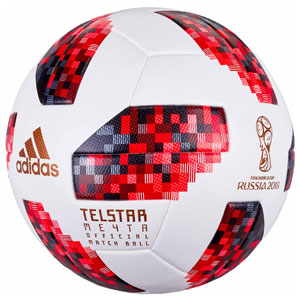 adidas FIFA World Cup 18 Official Match Soccer Ball - Knockout Rounds - White/Solar Red CW4680