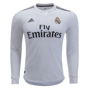 adidas Real Madrid Authentic Home Long Sleeve Jersey 2018-2019 DQ0869