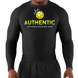 Authentic Soccer Long Sleeve Compression Top - Black  AU-ComLS