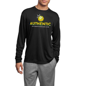 Authentic Soccer Long Sleeve Performance Shirt - Black  AU-LPTee