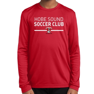 Hobe Sound Soccer Club Youth Long Sleeve Performance Shirt - Red YST350LS-HS
