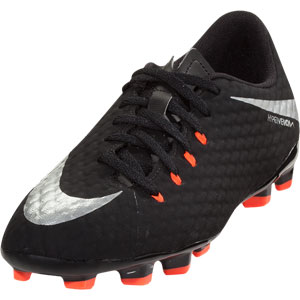Nike Junior Hypervenom Phelon III FG - Black/Metallic Silver 852595-001