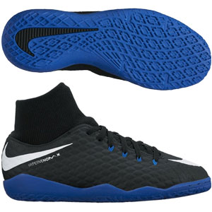 Nike Junior HypervenomX Phelon III DF IC - Black/White/Game Royal Indoor 917774-002