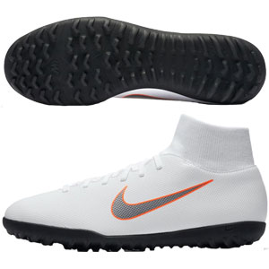 Nike Superfly 6 Club TF - White/Metallic Cool Grey/Total Orange Turf  AH7372-107