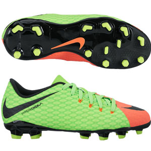 Nike Junior Hypervenom Phelon III FG - Electric Green/Black/Hyper Orange 852595-308