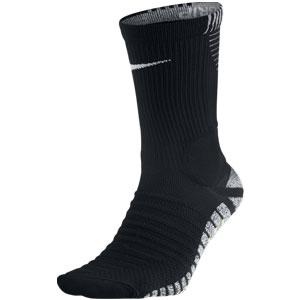 NikeGrip Strike Cushioned Crew Soccer Socks - Black/White SX5090-014