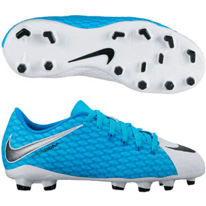 Nike Junior Hypervenom Phelon III FG - White/Black/Photo Blue 852595-104
