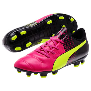 Puma Junior EvoPower 4.3 Tricks FG - Pink Glo/Safety Yellow/Black 10362401