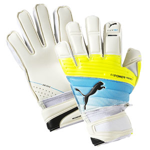 Puma evoPower Protect 1.3 Finger Protection Glove - White/Atomic Blue/Safety Yellow 041216-01
