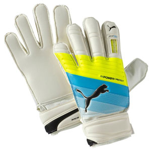 Puma evoPOWER Protect 3.3 Junior Goalkeeper Glove - White/Atomic Blue/Safety Yellow 041221-01