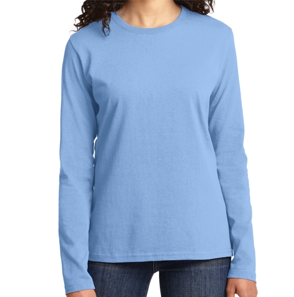 Port & Company Ladies Core Cotton Long Sleeve T-Shirt - Light Blue LPC54LS-LB