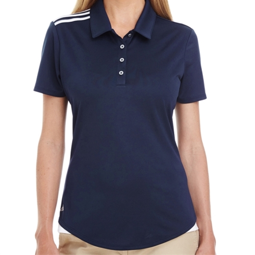 adidas Women's 3 Strip Shoulder Polo - Navy A235N