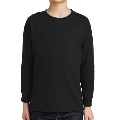 Gildan 5400 Cotton Youth Long Sleeve T-Shirt - Black 5400B