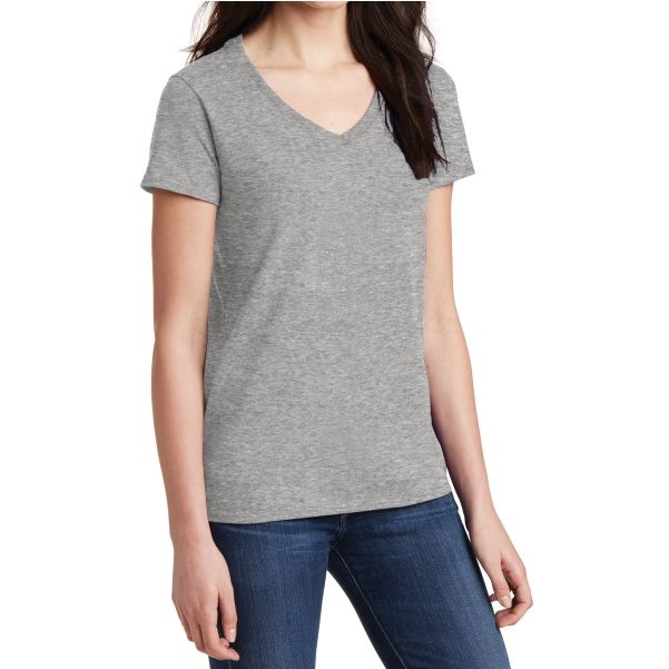 Gildan 5V00L Cotton Women's V-Neck T-Shirt - Grey 5V00LGry