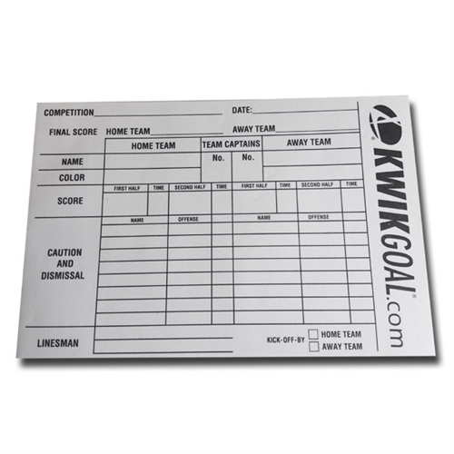 Kwik Goal Referee Score Sheets 15B1301