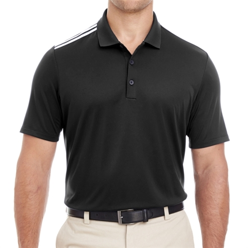 adidas Men's 3-Stripes Shoulder Polo - Black A233