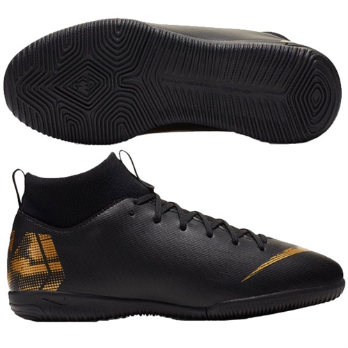 Nike Junior SuperflyX Academy VI DF IC - Black/Metallic Vivid Gold Indoor AH7343-077