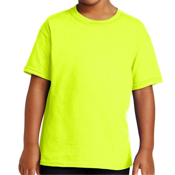 Gildan 5000B Youth Cotton T-Shirt - Neon Yellow 5000B-NYw