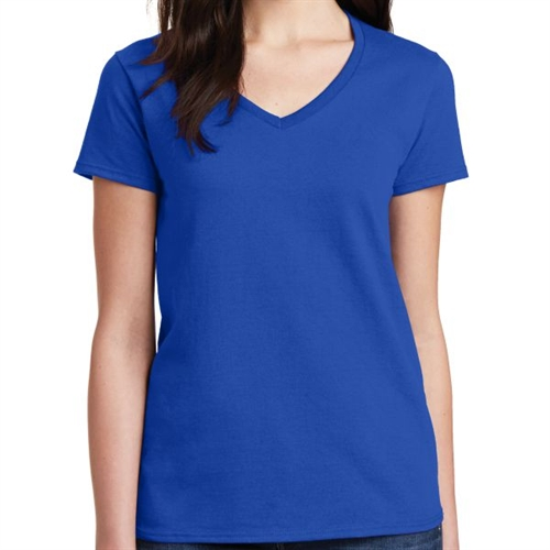Gildan 5V00L Cotton Women's V-Neck T-Shirt - Blue 5V00LBlu