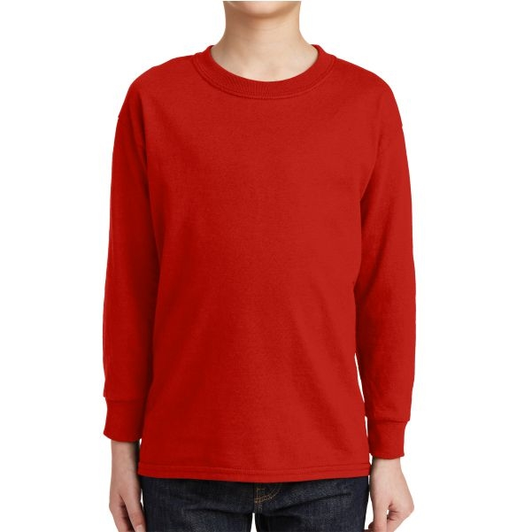 Gildan 5400 Cotton Youth Long Sleeve T-Shirt - Red 5400BRed