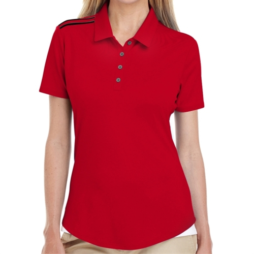 adidas Women's 3 Strip Shoulder Polo - Red A235R