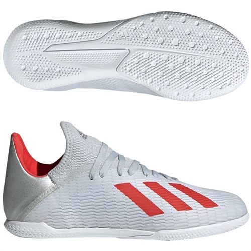 adidas Junior X 19.3 IN - Silver Metallic/Hi Res Red Indoor F35355