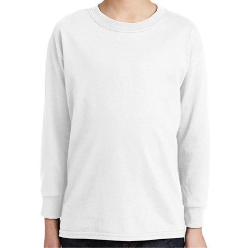 Gildan 5400 Cotton Youth Long Sleeve T-Shirt - White 5400B-Whi