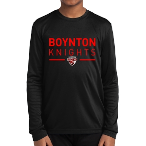 Boynton Knights FC Youth Long Sleeve Performance Shirt - Black YST350LS-BK