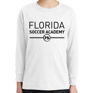 Florida Soccer Academy Youth Long Sleeve T-Shirt - White FSA-5400B