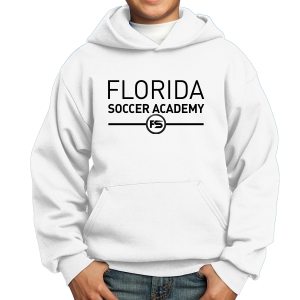 Florida Soccer Academy Youth Hooded Sweatshirt - White FSA-PC90YH